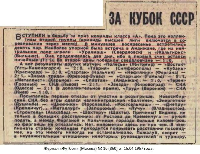 Уралмаш (Свердловск) - Жальгирис (Вильнюс) 1:0