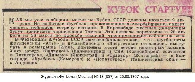Динамо (Кировабад) - Торпедо (Томск) 2:0