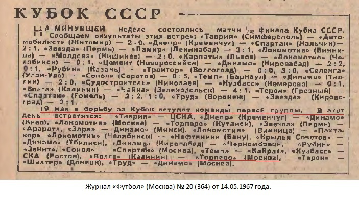 Волга (Калинин) - Торпедо (Москва) 0:1
