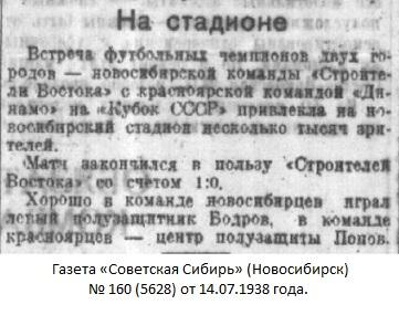 Строитель Востока (Новосибирск) - Динамо (Красноярск) 1:0