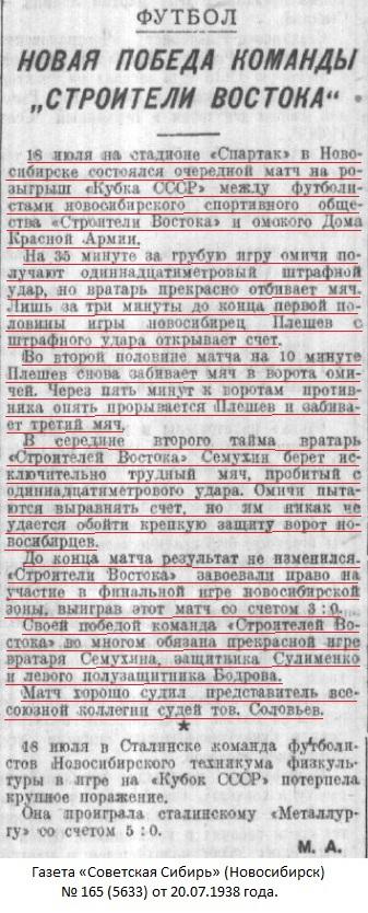Строитель Востока (Новосибирск) - ДКА (Омск) 3:0