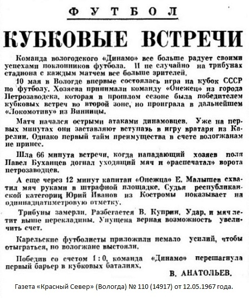 Динамо (Вологда) - Онежец (Петрозаводск) 1:0