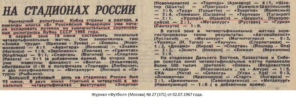 Урожай (Крымск) - Цемент (Новороссийск) 2:1. Нажмите, чтобы посмотреть истинный размер рисунка