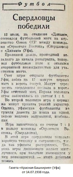 Динамо (Уфа) - Строитель Востока (Свердловск) 1:7