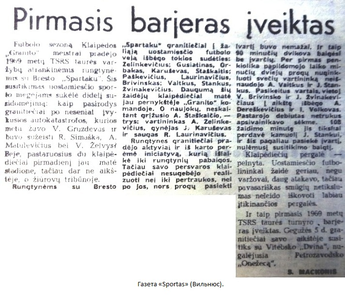 Гранитас (Клайпеда) - Спартак (Брест) 1:0 д.в.