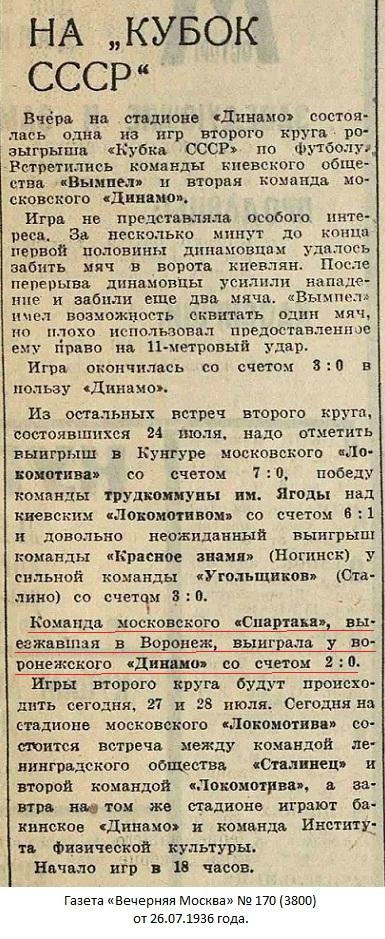 Динамо (Воронеж) - Спартак (Москва) 0:2