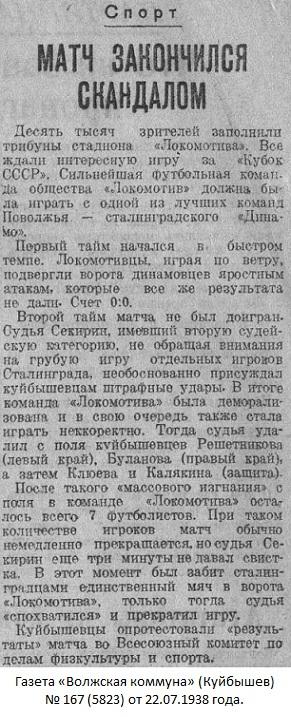 Локомотив (Куйбышев) - Динамо (Сталинград) -:+ 0:1 тех.