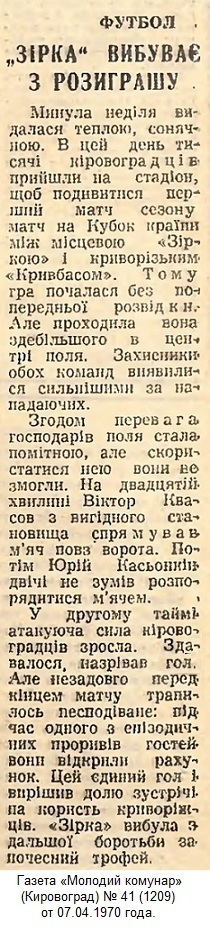 Звезда (Кировоград) - Кривбасс (Кривой Рог) 0:1