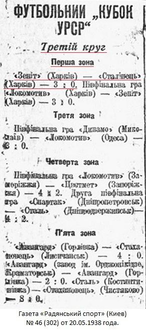 Зенит (Харьков) - Сталинец (Харьков) 3:0