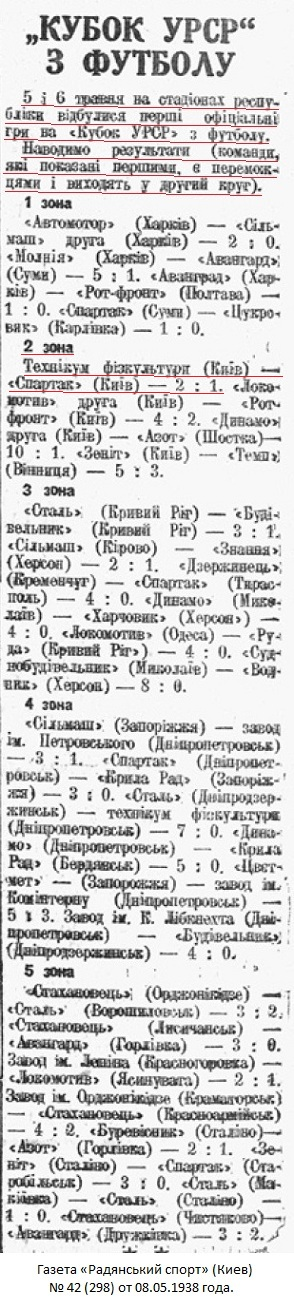 Спартак (Киев) - КТФК - Киевский техникум физкультуры (Киев) 1:2