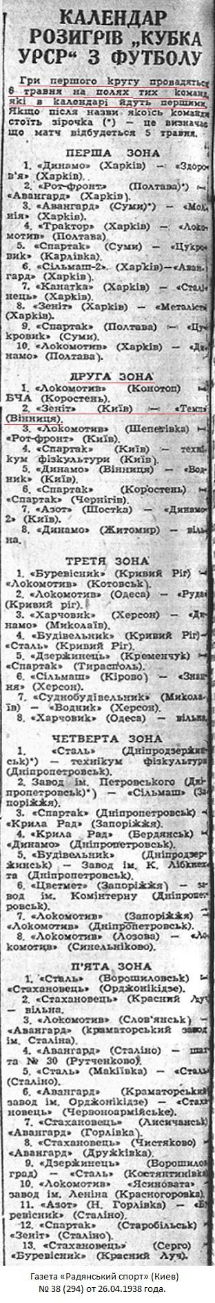 Зенит - Краснознаменный машиностроительный завод (Киев) - Темп (Винница) 5:3