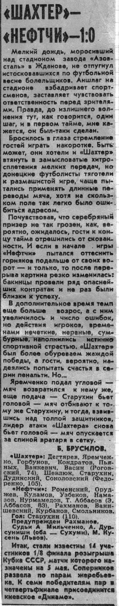 Шахтёр (Донецк) - Нефтчи (Баку) 1:0 д.в.