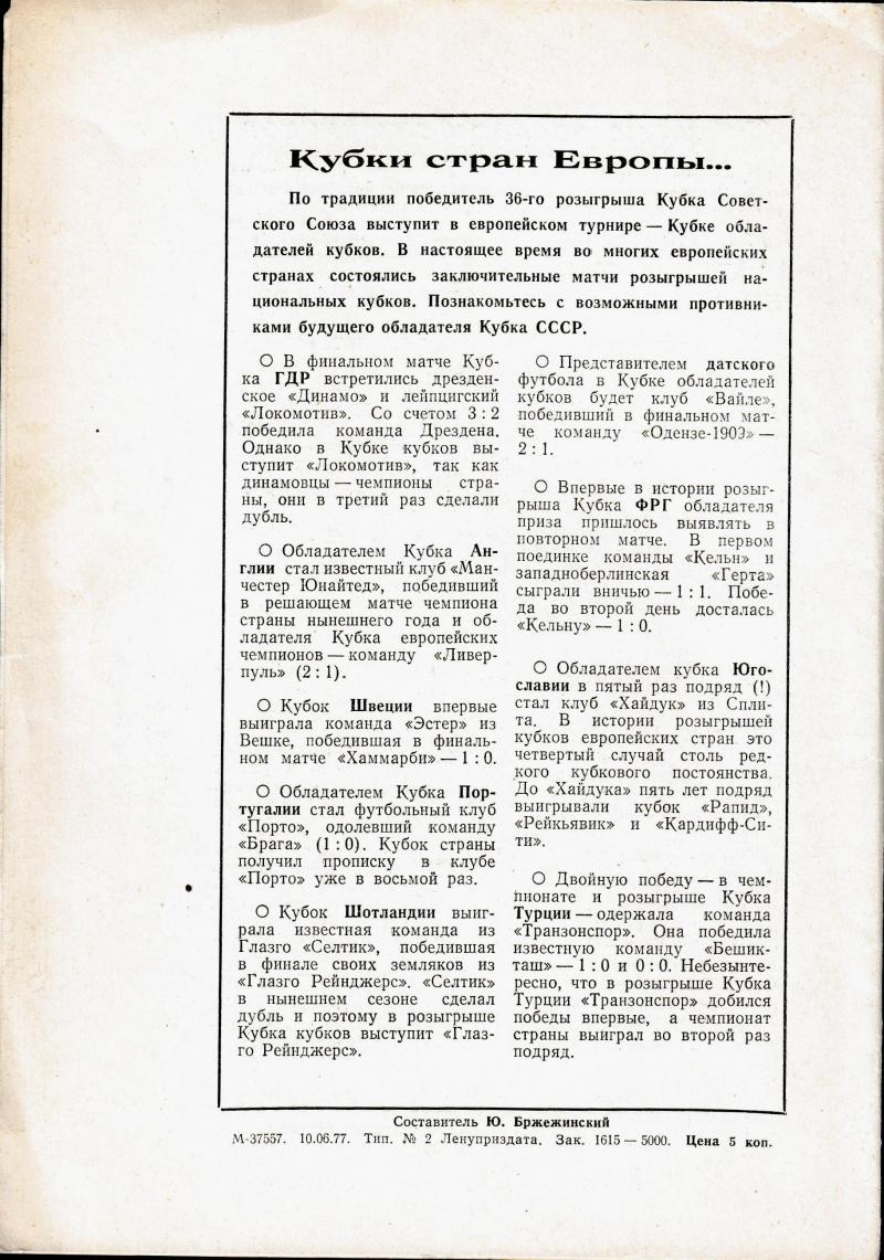 Зенит (Ленинград) - Карпаты (Львов) 2:0. Нажмите, чтобы посмотреть истинный размер рисунка