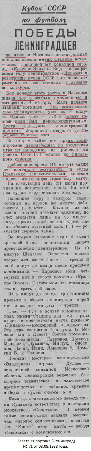 Красное Знамя (Глухово) - Сталинец (Ленинград) 1:1 д.в.