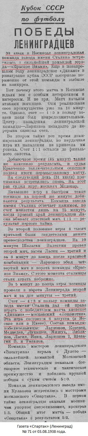 Красное Знамя (Глухово) - Сталинец (Ленинград) 3:4