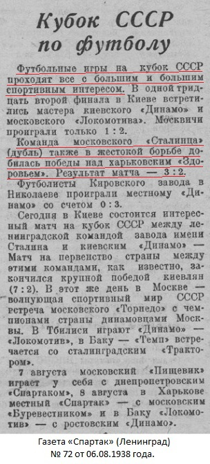 Сталинец-2 (Москва) - Здоровье (Харьков) 3:2