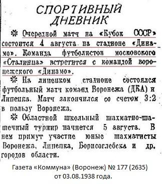 Динамо (Воронеж) - Сталинец (Москва) 0:4