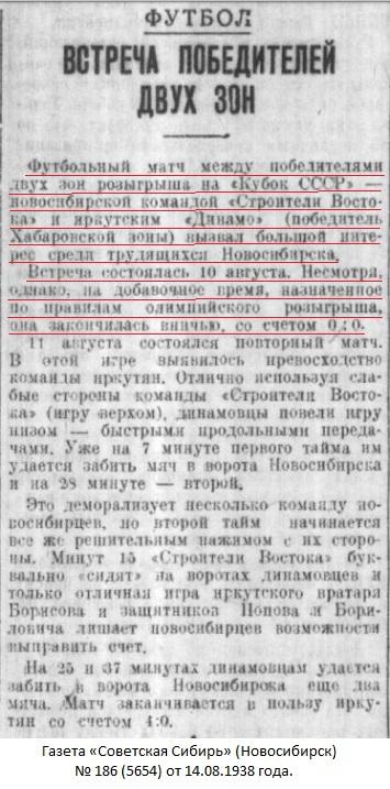 Строитель Востока (Новосибирск) - Динамо (Иркутск) 0:0 д.в.