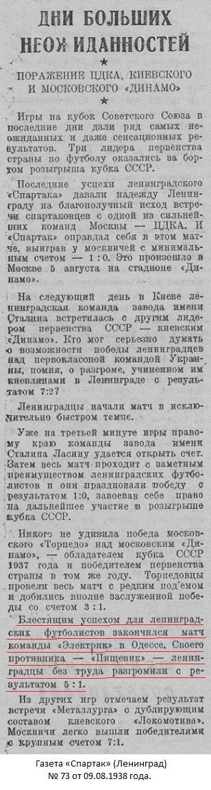 Пищевик old (Одесса) - Электрик (Ленинград) 1:5