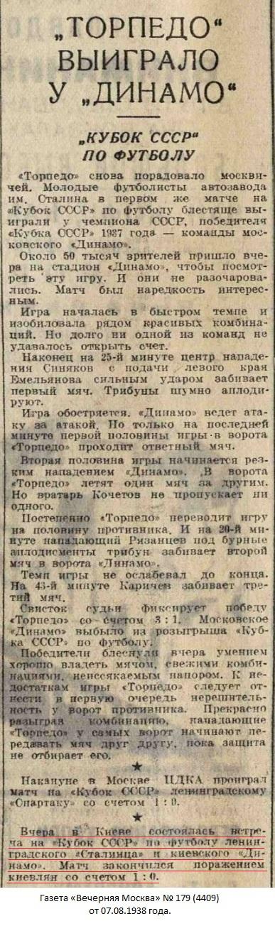 Динамо (Киев) - Сталинец (Ленинград) 0:1