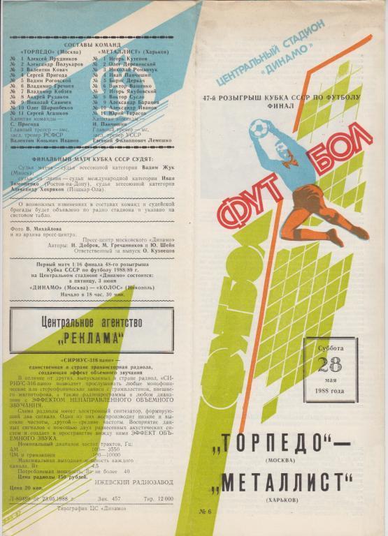 Торпедо (Москва) - Металлист (Харьков) 0:2