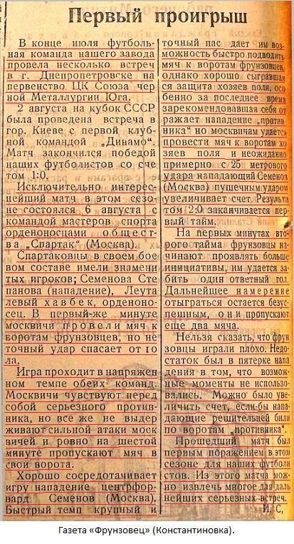 Сталь - металлургический завод им. М.В. Фрунзе (Константиновка) - Спартак (Москва) 1:4