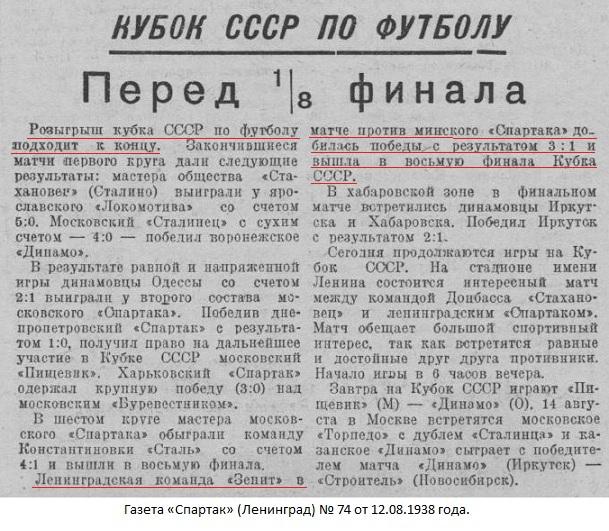 Спартак old (Минск) - Зенит - завод Большевик (Ленинград) 1:3