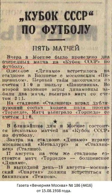 Сталинец-2 (Москва) - Торпедо (Москва) 0:1