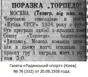 Торпедо (Москва) - Динамо (Болшево) 0:3