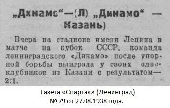 Динамо (Ленинград) - Динамо (Казань) 2:1