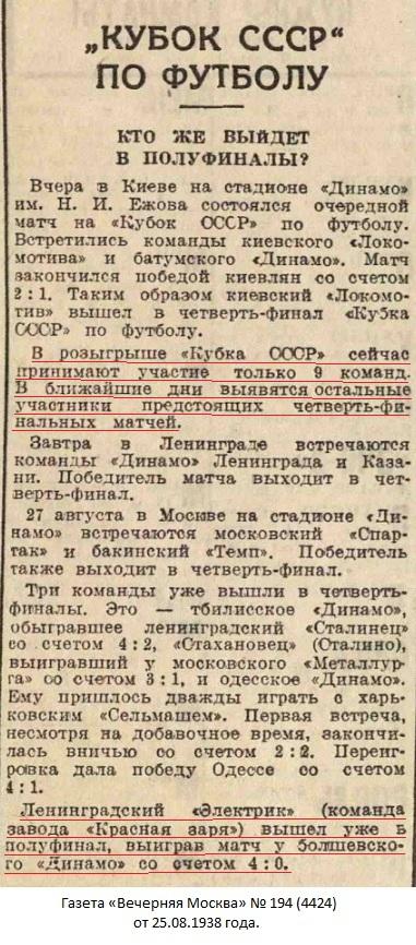 Электрик (Ленинград) - Динамо (Болшево) 4:0