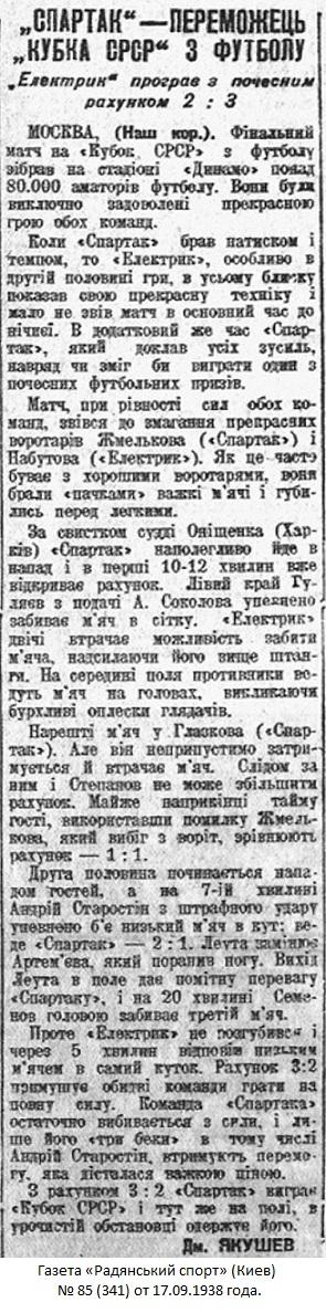 Спартак (Москва) - Электрик (Ленинград) 3:2