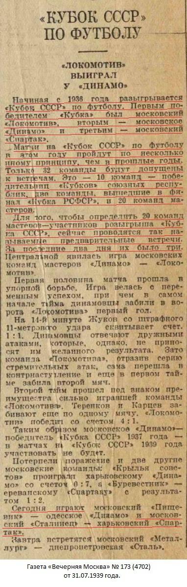 Сталинец (Москва) - Спартак (Харьков) 6:0
