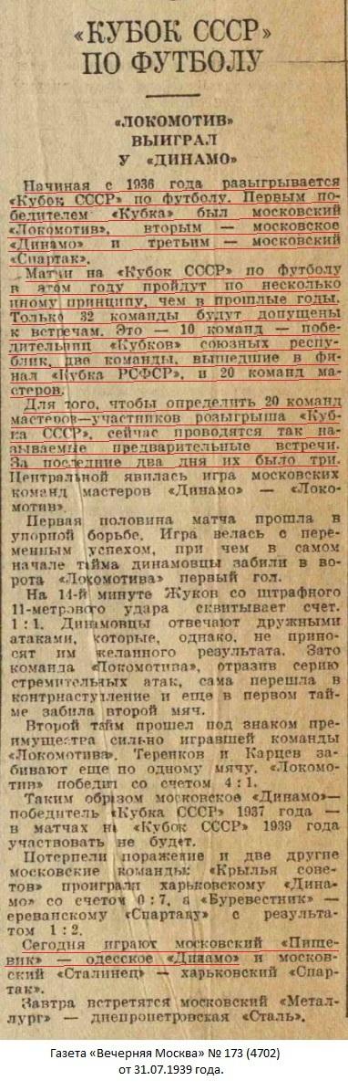 Пищевик (Москва) - Динамо (Одесса) 2:1