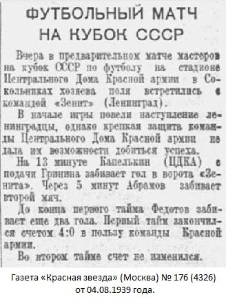 ЦДКА (Москва) - Зенит old (Ленинград) 4:0