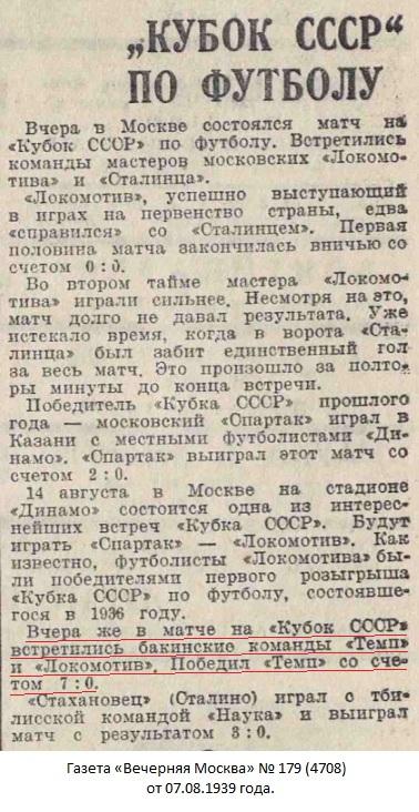 Локомотив (Баку) - Темп (Баку) 0:7