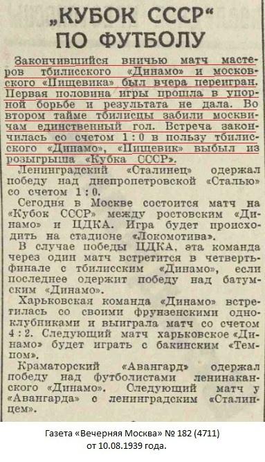 Динамо (Тбилиси) - Пищевик (Москва) 1:0