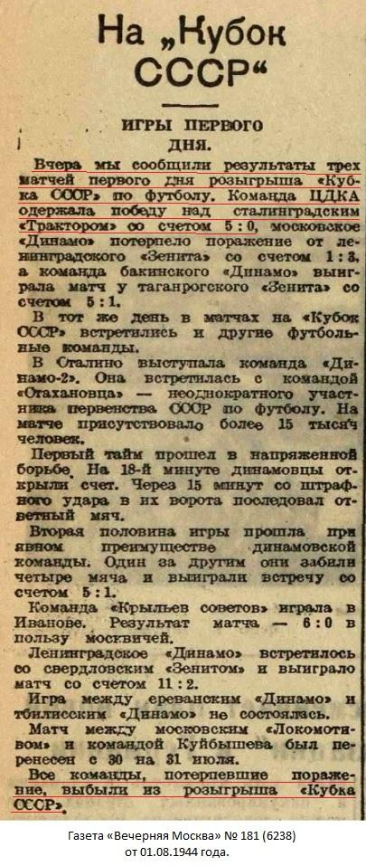 ЦДКА (Москва) - Трактор (Сталинград) 5:0