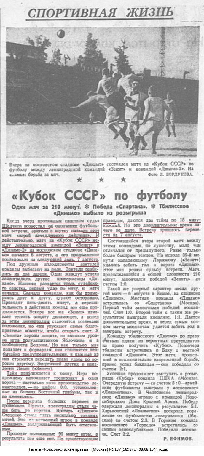 Динамо-2 (Москва-Минск) - Зенит (Ленинград) 0:0 д.в.