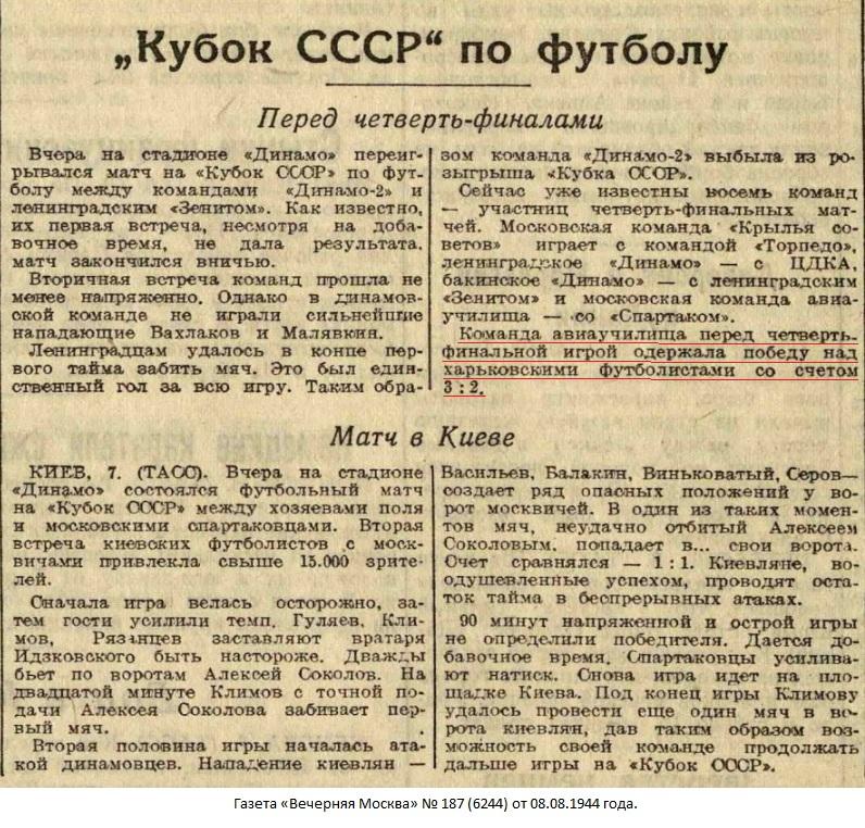 Локомотив (Харьков) - Авиаучилище (Москва) 2:3