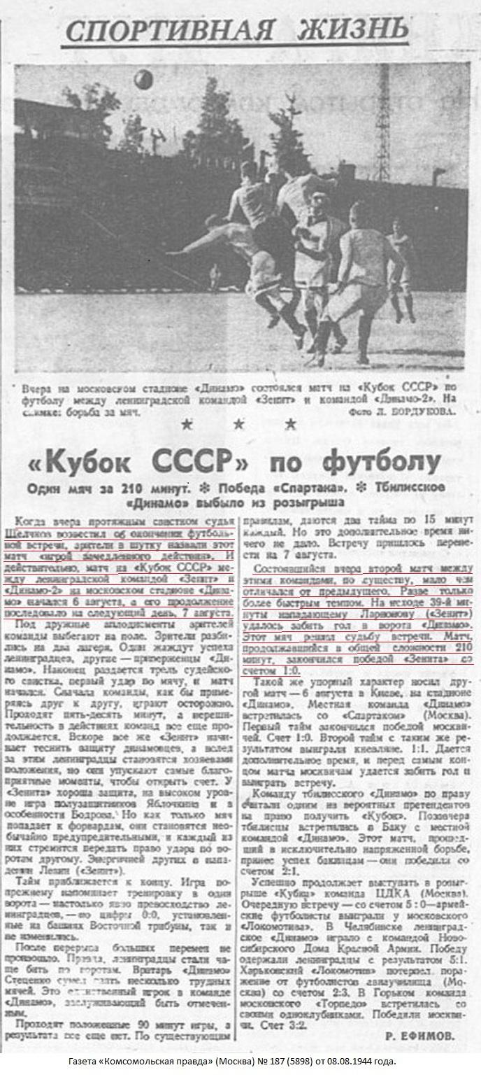 Динамо-2 (Москва-Минск) - Зенит (Ленинград) 0:1