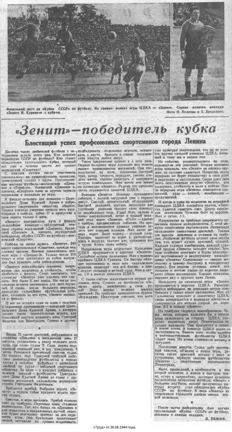 ЦДКА (Москва) - Зенит (Ленинград) 1:2. Нажмите, чтобы посмотреть истинный размер рисунка
