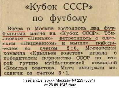 Динамо (Тбилиси) - Пищевик (Одесса) 2:0