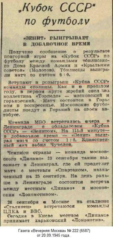 Зенит (Ленинград) - МВО (Москва) 1:0 д.в.