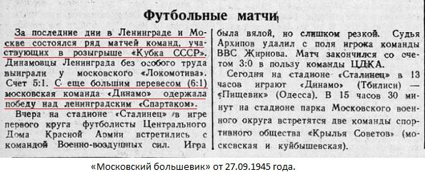Спартак (Ленинград) - Динамо (Москва) 1:6
