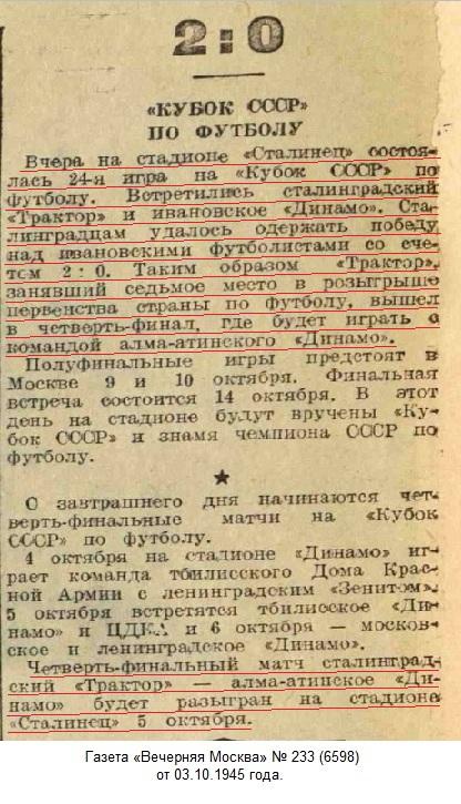 Трактор (Сталинград) - Динамо (Иваново) 2:0