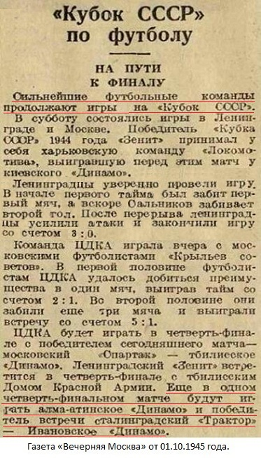 Трактор (Сталинград) - Динамо (Алма-Ата) 1:0