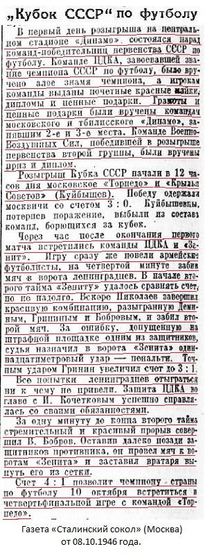 ЦДКА (Москва) - Зенит (Ленинград) 4:1