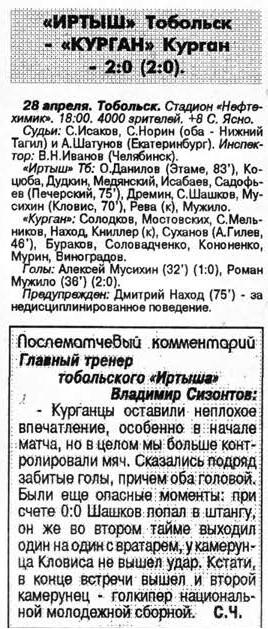 Иртыш (Тобольск) - Курган (Курган) 2:0