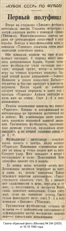 Динамо (Тбилиси) - Торпедо (Москва) 2:1